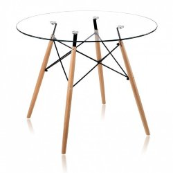 Стол Eames DSW glass, d-90 см